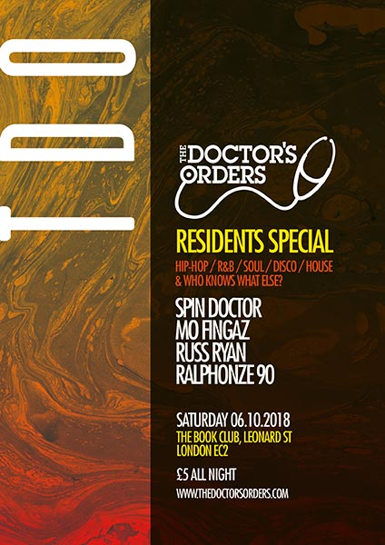 TDO Residents Special at Book Club on Saturday 6th October 2018 Flyer