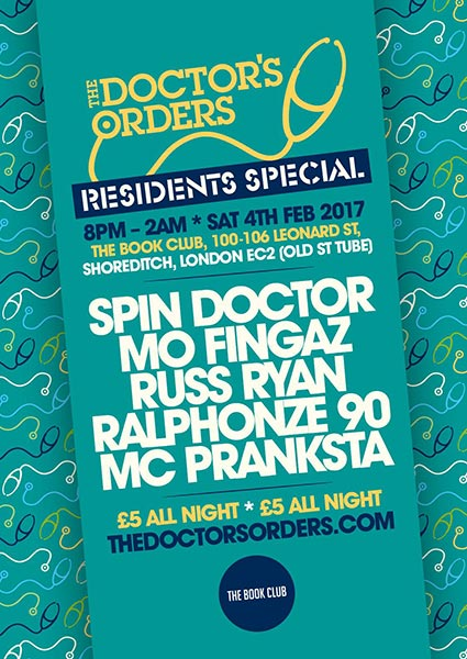 Doctor's Orders Residents Special at Islington Assembly Hall on Saturday 4th February 2017 Flyer