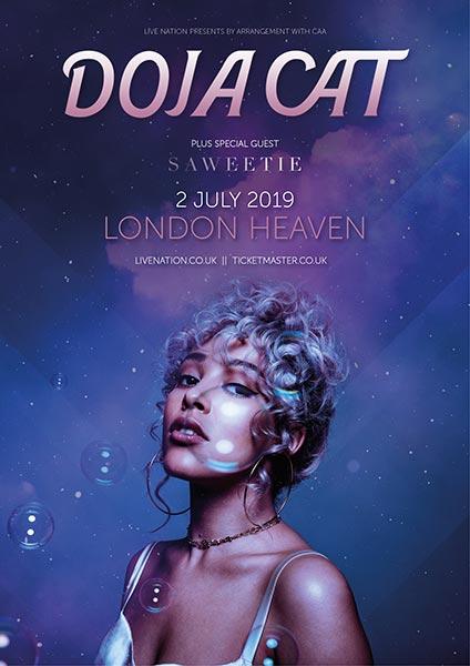 Doja Cat at Heaven on Tue 2nd July 2019 Flyer