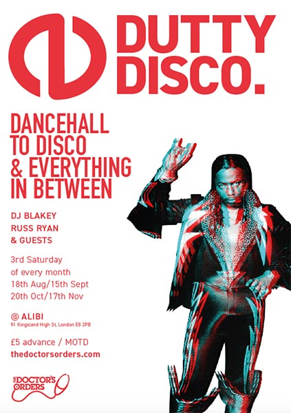 Dutty Disco at The Alibi on Sat 18th August 2018 Flyer