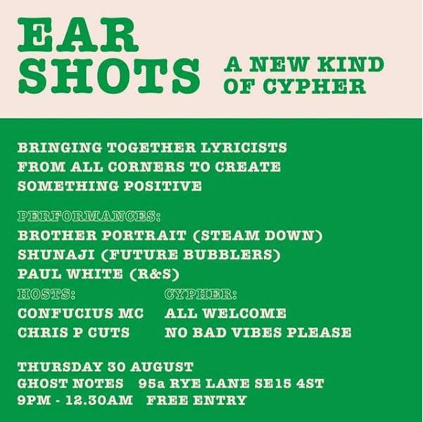 Ear Shots at Ghost Notes on Thursday 30th August 2018 Flyer