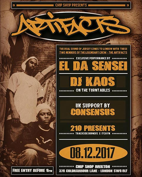 El Da Sensei (Artifacts) at Chip Shop BXTN on Fri 8th December 2017 Flyer