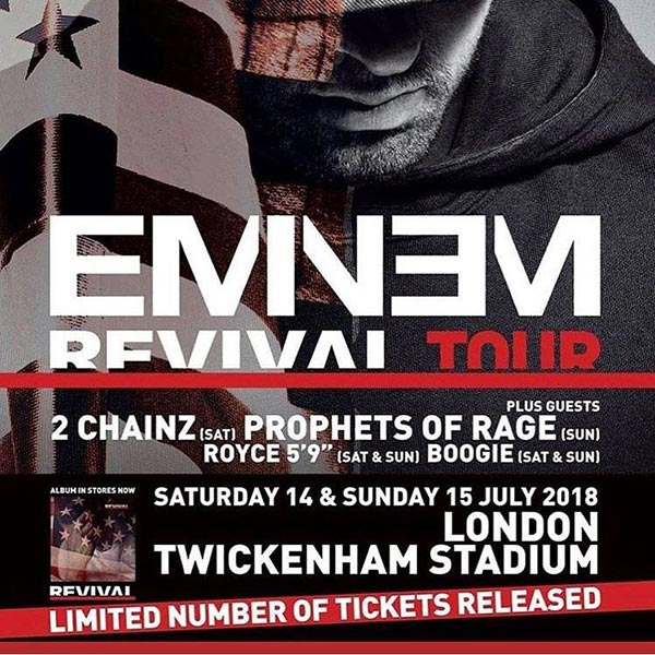 Eminem at Twickenham Stadium on Sat 14th July 2018 Flyer