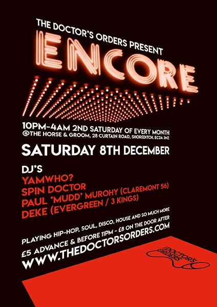 Encore at Horse & Groom on Sat 8th December 2018 Flyer