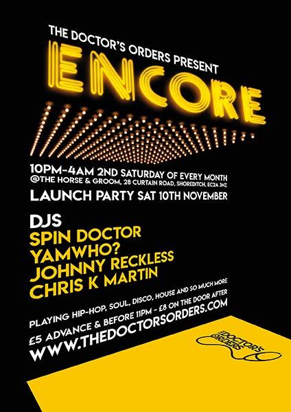 Encore at Horse & Groom on Sat 10th November 2018 Flyer