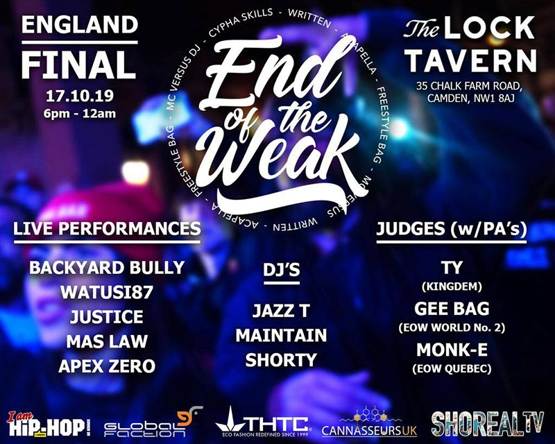 End of the Weak at The Lock Tavern on Thu 17th October 2019 Flyer