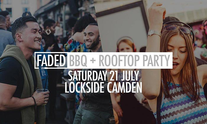Faded BBQ + Rooftop Party at Lockside Camden on Sat 21st July 2018 Flyer