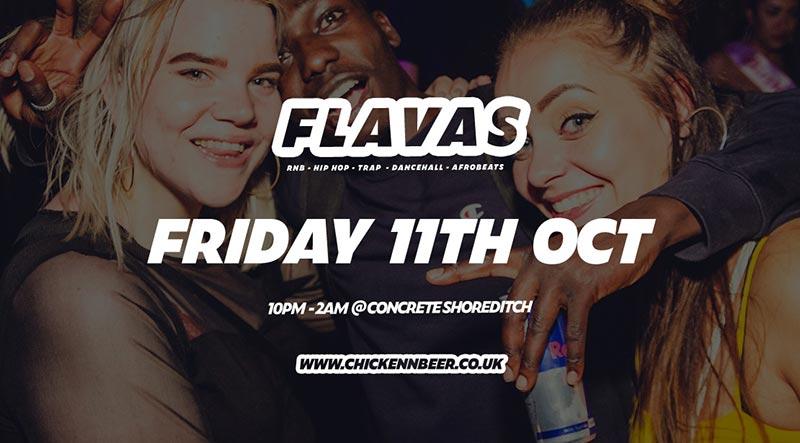 Flavas at Concrete on Fri 11th October 2019 Flyer