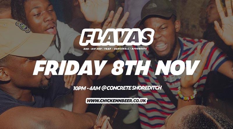 Flavas at Concrete on Fri 8th November 2019 Flyer