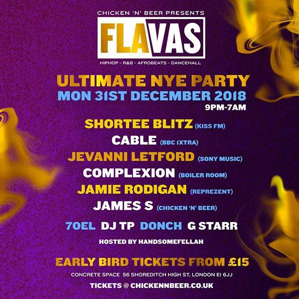 Flavas at Concrete on Mon 31st December 2018 Flyer