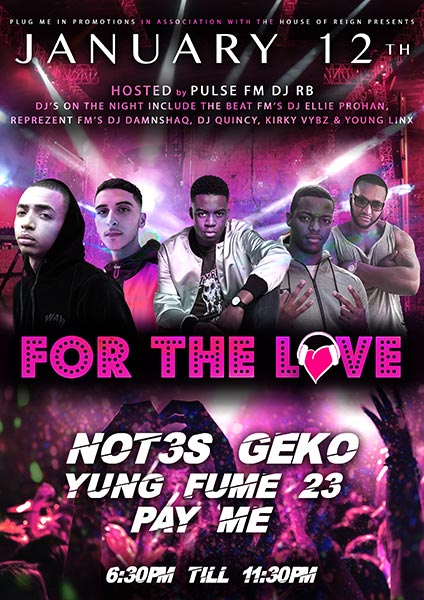 For The Love at Islington Assembly Hall on Friday 12th January 2018 Flyer