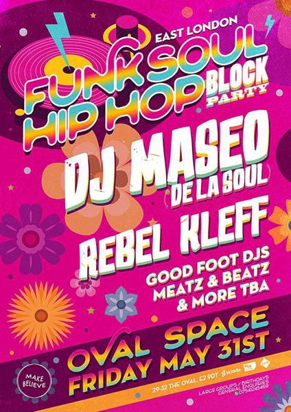 East London Funk & Soul Block Party at Oval Space on Friday 31st May 2019 Flyer