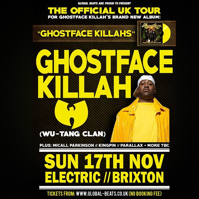 Ghostface Killah at Electric Brixton on Sunday 17th November 2019 Flyer