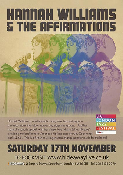 Hannah Williams and The Affirmations at Hideaway on Sat 17th November 2018 Flyer