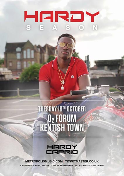 Hardy Caprio at The Forum on Tue 16th October 2018 Flyer