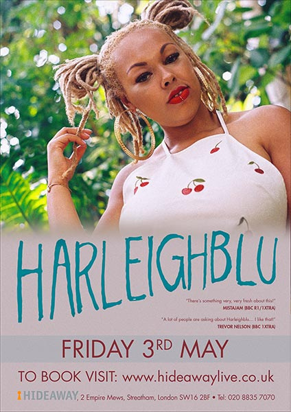 Harleighblu at Hideaway on Fri 3rd May 2019 Flyer