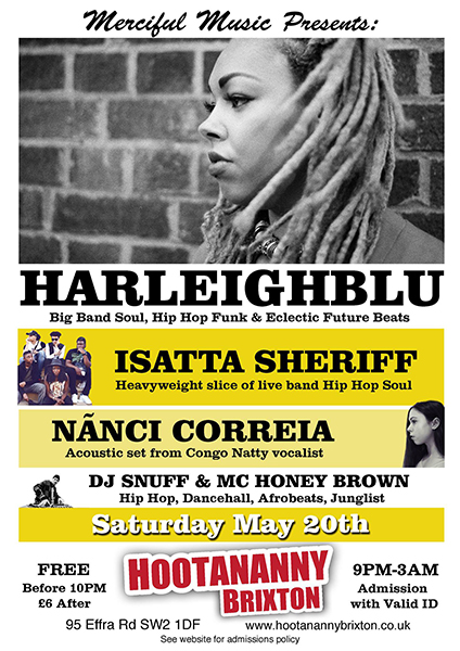 Harleighblu at Hootananny on Sat 20th May 2017 Flyer