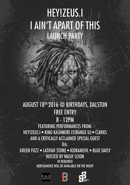 Hey!Zeus.i Launch Party at Trapeze on Thursday 18th August 2016 Flyer