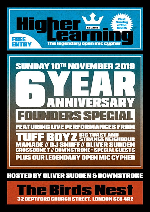 Higher Learning at The Birds Nest on Sun 10th November 2019 Flyer