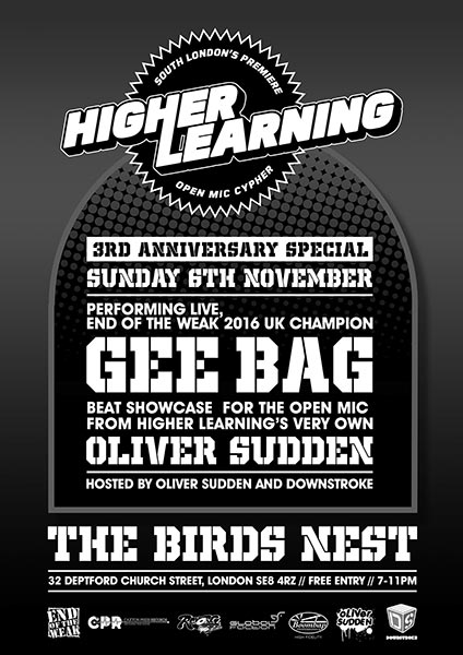 Higher Learning at Hoxton Bar & Kitchen on Sunday 6th November 2016 Flyer