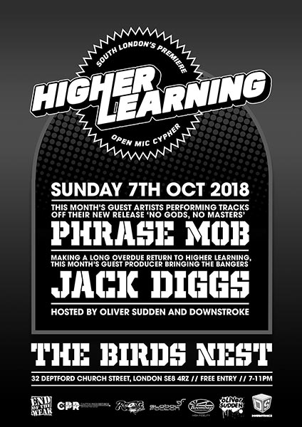 Higher Learning at The Birds Nest on Sunday 7th October 2018 Flyer