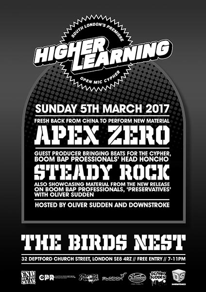 Higher Learning at Brixton Academy on Sunday 5th March 2017 Flyer