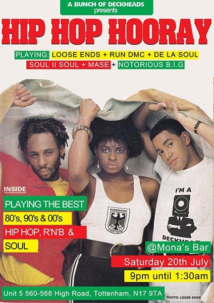 Hip Hop Hooray at Monas Bar on Sat 20th July 2019 Flyer