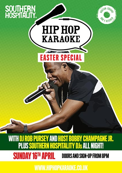 Hip Hop Karaoke Easter Special at Islington Assembly Hall on Sunday 16th April 2017 Flyer