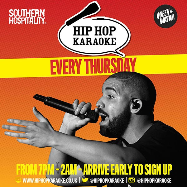 Hip Hop Karaoke at Queen of Hoxton on Thu 8th November 2018 Flyer