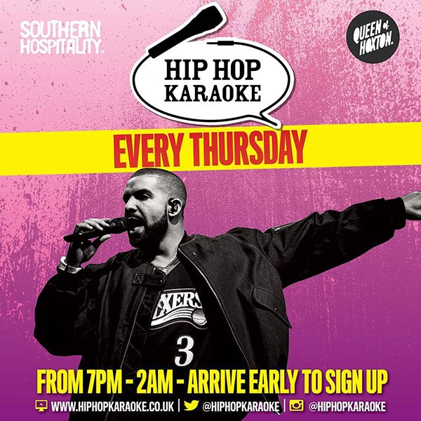 Hip Hop Karaoke at Queen of Hoxton on Thu 6th June 2019 Flyer