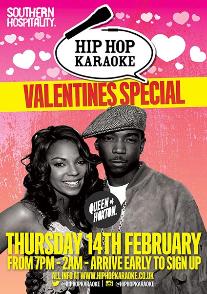 Hip Hop Karaoke at Queen of Hoxton on Thu 14th February 2019 Flyer