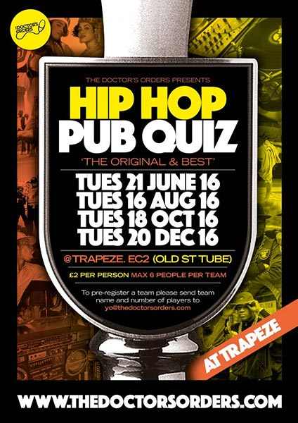 Hip Hop Pub Quiz at KOKO on Tuesday 21st June 2016 Flyer