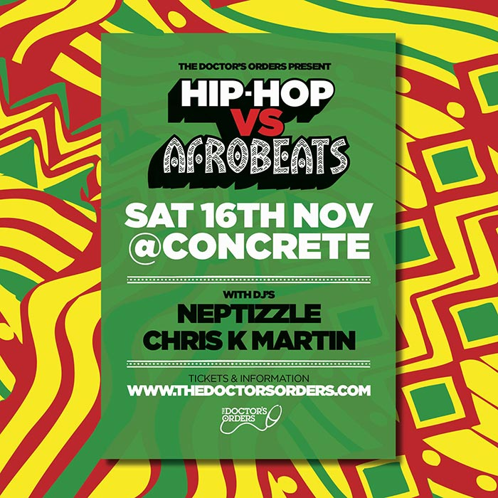 Hip-Hop vs Afrobeats at Concrete on Sat 16th November 2019 Flyer