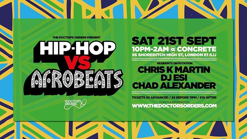 Hip-Hop vs Afrobeats at Concrete on Sat 21st September 2019 Flyer