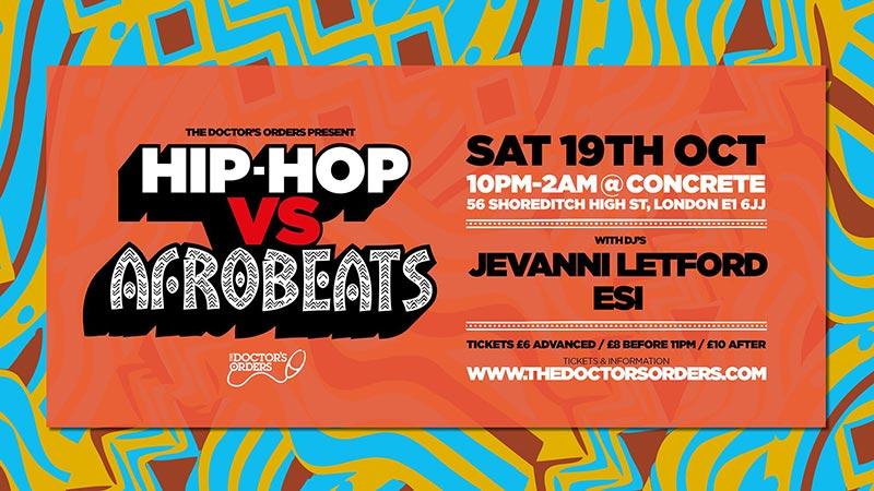 Hip-Hop vs Afrobeats at Trapeze on Sat 19th October 2019 Flyer