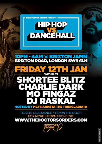 Hip-Hop vs Dancehall at Brixton Jamm on Fri 12th January 2018 Flyer