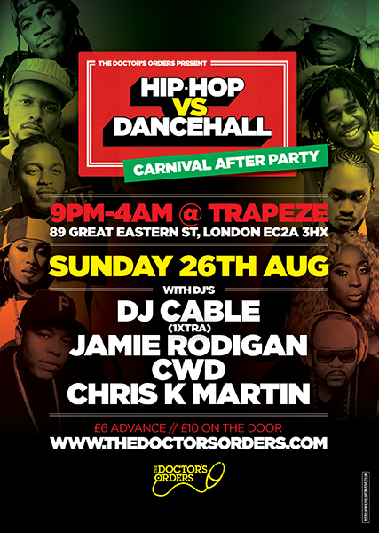 Hip-Hop vs Dancehall at Trapeze on Sunday 26th August 2018 Flyer