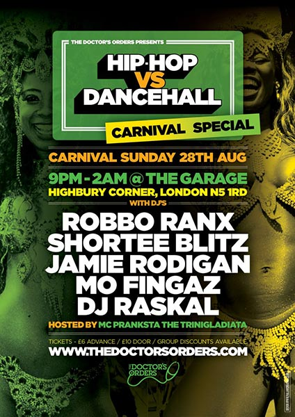Hip Hop vs Dancehall Carnival Special at Trapeze on Sunday 28th August 2016 Flyer