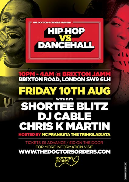 Hip Hop vs DanceHall at Brixton Jamm on Fri 10th August 2018 Flyer