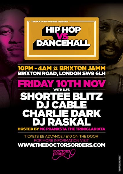 Hip-Hop vs Dancehall at Brixton Jamm on Fri 10th November 2017 Flyer