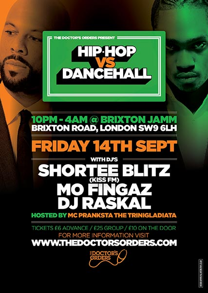 Hip Hop vs DanceHall at Brixton Jamm on Fri 14th September 2018 Flyer