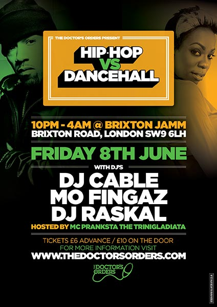 Hip Hop vs Dancehall at Brixton Jamm on Friday 8th June 2018 Flyer