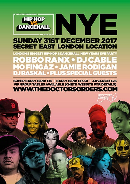 Hip Hop vs Dancehall NYE at Finsbury Park on Sunday 31st December 2017 Flyer