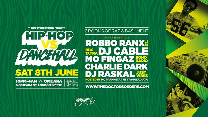 Hip-Hop vs Dancehall at Omeara on Sat 8th June 2019 Flyer