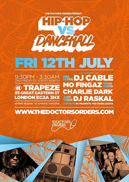 Hip-Hop vs Dancehall at Trapeze on Fri 12th July 2019 Flyer