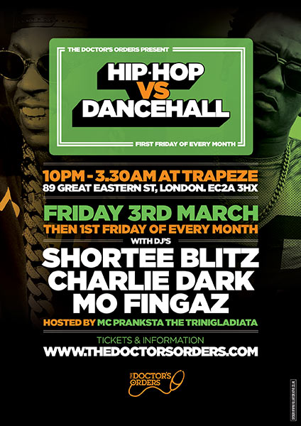 Hip Hop vs Dancehall at Brixton Academy on Friday 3rd March 2017 Flyer
