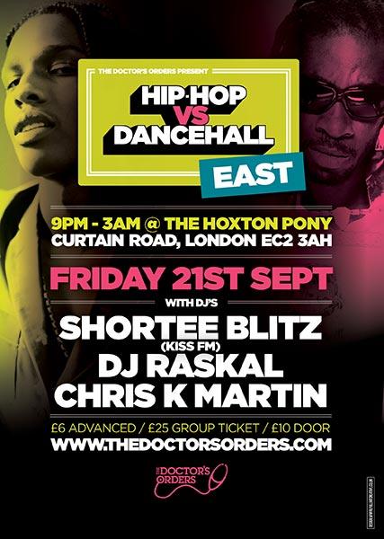 Hip Hop vs DanceHall at The Hoxton Pony on Fri 21st September 2018 Flyer