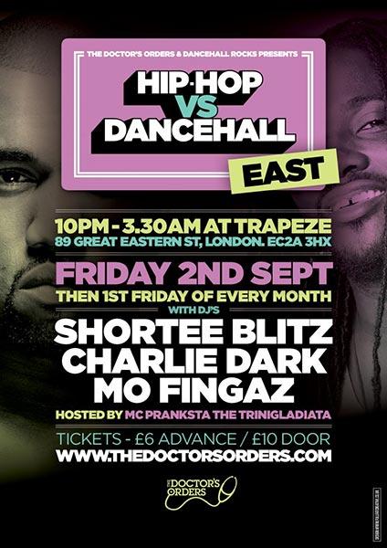 Hip Hop vs Dancehall East at Rah Rah Room on Friday 2nd September 2016 Flyer