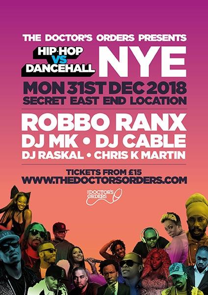 Hip Hop vs DanceHall NYE at Secret Location on Mon 31st December 2018 Flyer
