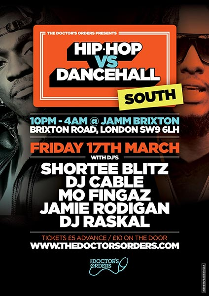Hip Hop vs Dancehall South at Brixton Academy on Friday 17th March 2017 Flyer